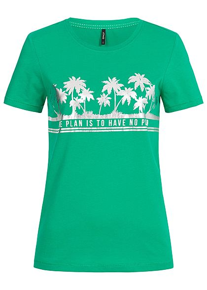 ONLY Damen T-Shirt Tropical Plan Print simply grün silber