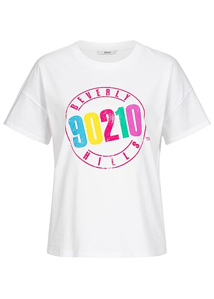 ONLY Damen T-Shirt Beverly Hills 90210 Print weiss