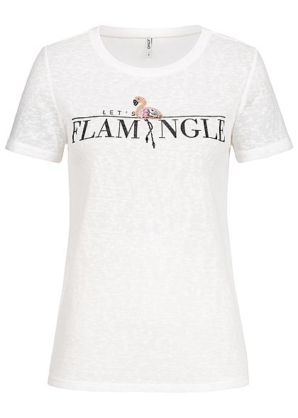 ONLY Damen T-Shirt Flamingo Print Diamonds and Pearls cloud dancer weiss