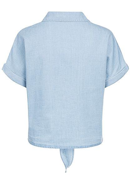 ONLY Damen Jeans Bluse Bindedetail vorne hell blau denim