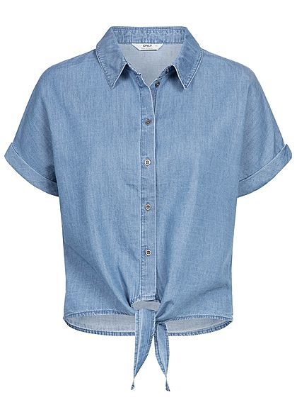 ONLY Damen Tie-Knot Denim Shirt medium blau denim