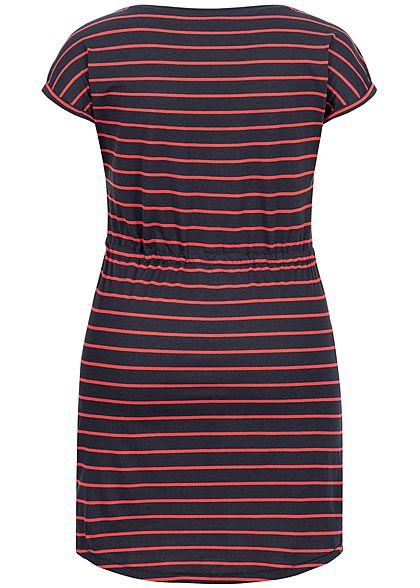 ONLY Carmakoma Damen Curvy Fold Up Dress Stripes Print night sky navy blau rot