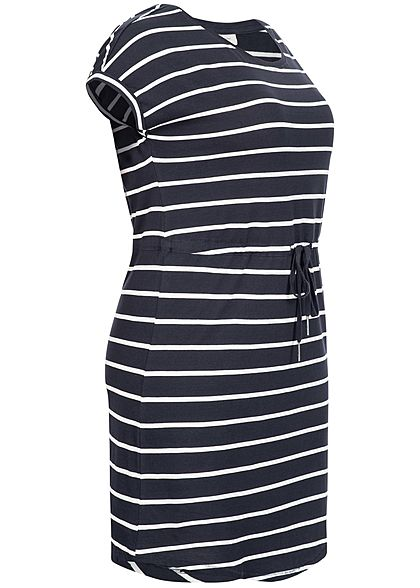 ONLY Carmakoma Damen Curvy Fold Up Dress Stripes Print night sky navy blau weiss