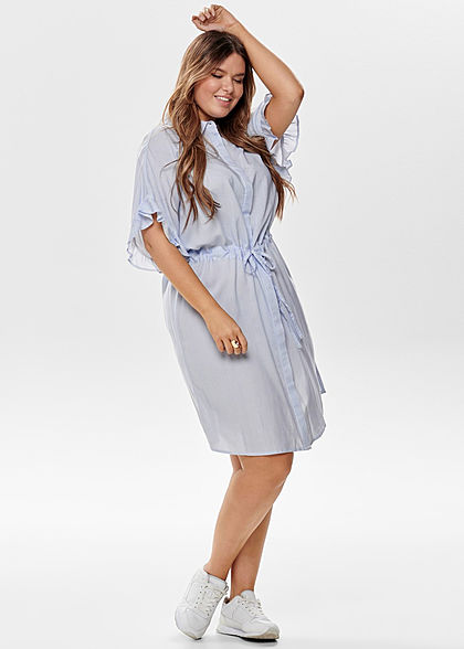 ONLY Carmakoma Damen Curvy Striped Dress marina blau weiss