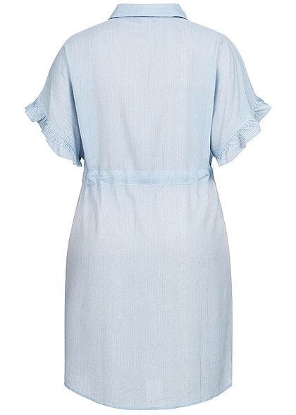 ONLY Carmakoma Damen Curvy Striped Dress marina blau weiss