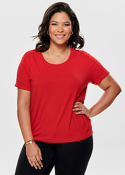 ONLY Carmakoma Damen Curvy T-Shirt high risk rot