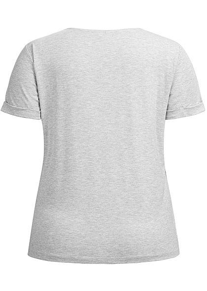 ONLY Carmakoma Damen Curvy T-Shirt hell grau melange