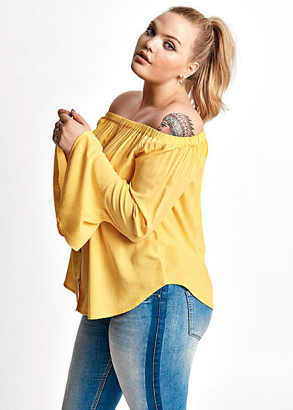ONLY Carmakoma Damen Curvy Off-Shoulder Buttons Front Blouse Top solar power gelb