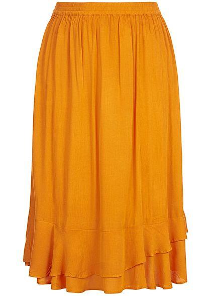 ONLY Carmakoma Damen Curvy Calf Skirt dessert sun gelb