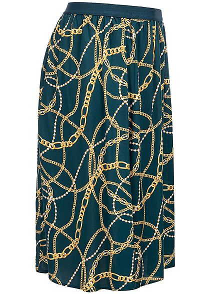 ONLY Carmakoma Damen Curvy Skirt Chains Print night sky navy blau gelb