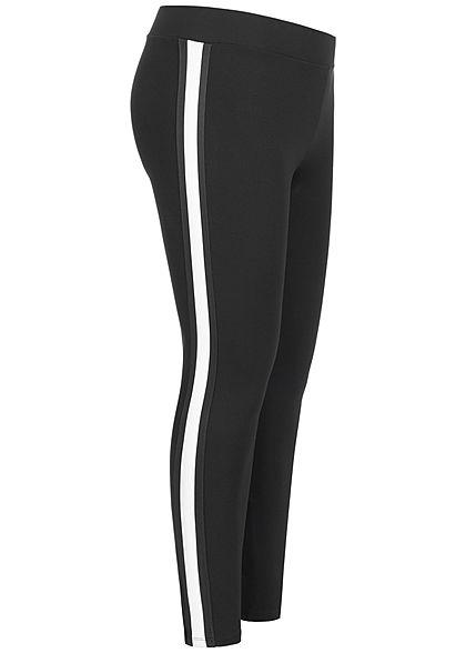 ONLY Carmakoma Damen Curvy Leggings Pants Contrasting Stripe schwarz weiss