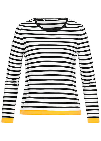 ONLY Damen Striped Pullover NOOS cloud dancer weiss schwarz