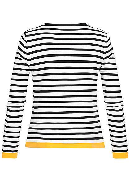 ONLY Damen NOOS Longsleeve Pullover Streifen Muster cloud weiss schwarz gelb