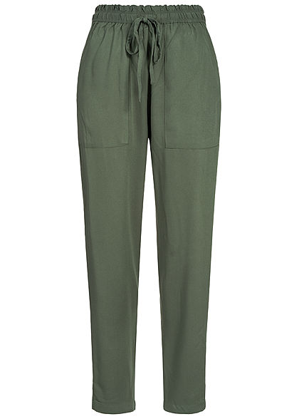 JDY by ONLY Damen Paper-Bag Trousers 2-Pockets thyme grün