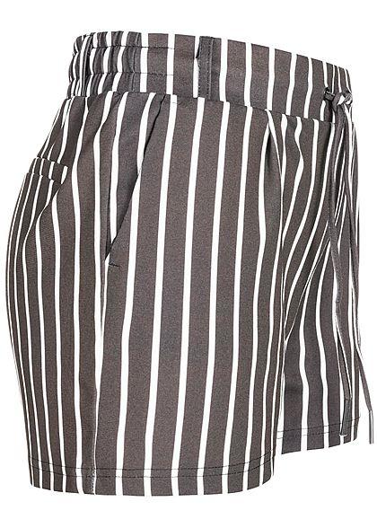 Hailys Damen Sweat Striped Shorts 2-Pockets schwarz weiss