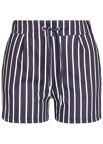 Hailys Damen Sweat Striped Shorts 2-Pockets navy blau weiss
