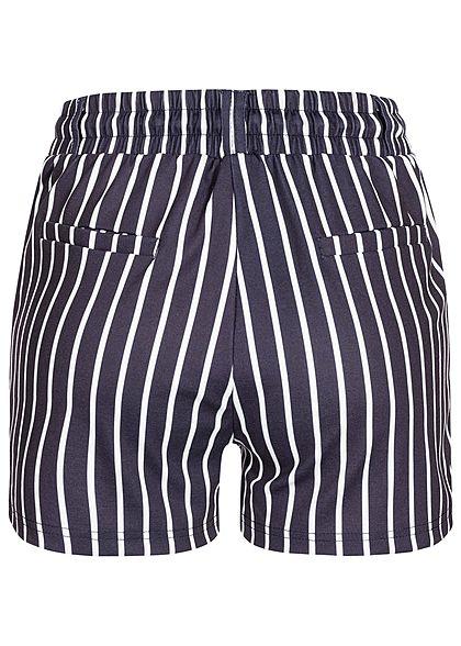Hailys Damen Sweat Striped Shorts 2-Pockets navy blau weiss