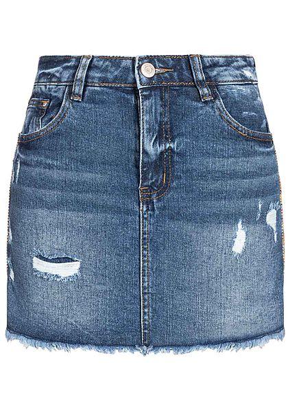 Hailys Damen 2in1 Jeans Skirt Shorts Destroy Look 5-Pockets blau denim