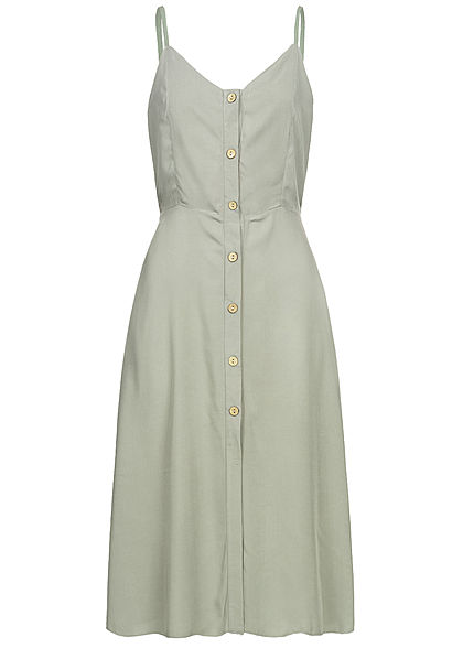 Hailys Damen Strap Dress Buttons Front khaki grün