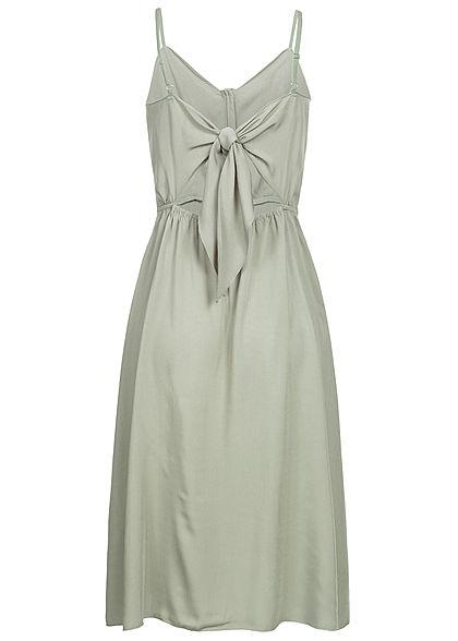 Hailys Damen V-Neck Kleid Bindedetail hinten Knopfleiste khaki grün