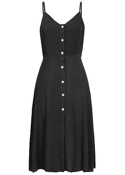 Hailys Damen Strap Dress Buttons Front schwarz