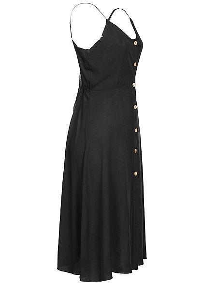 Hailys Damen V-Neck Kleid Bindedetail hinten Knopfleiste schwarz