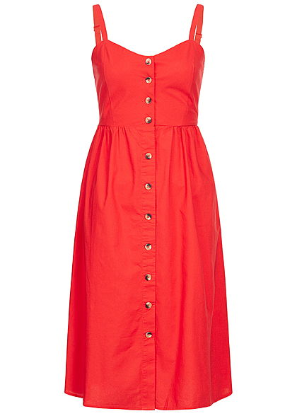 Hailys Damen Strap Dress Buttons Front rot