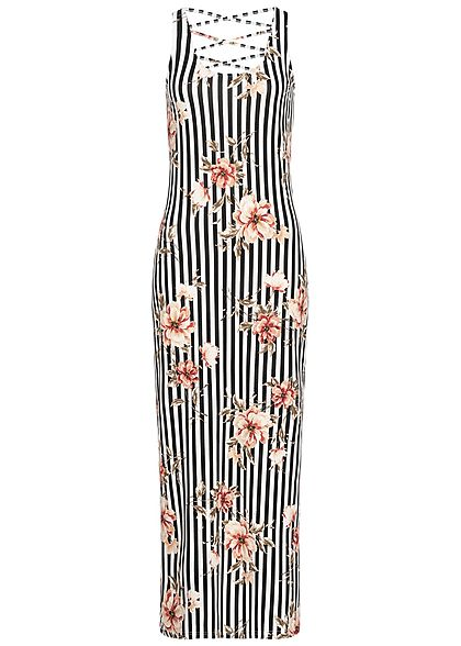 Hailys Damen Striped Maxi Dress Flower Print Cross Back Side schwarz