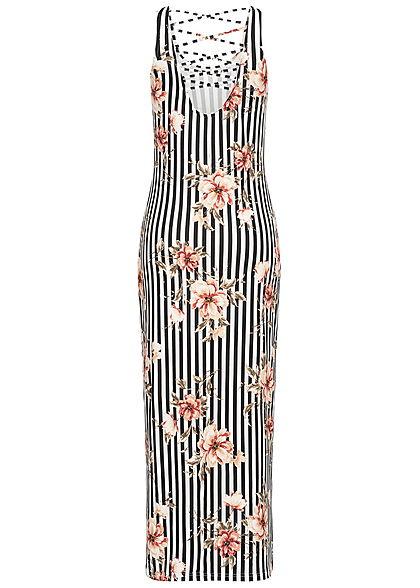 Hailys Damen Striped Maxi Dress Flower Print Cross Back Side schwarz