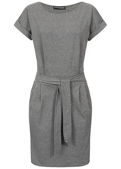 Styleboom Fashion Damen T-Shirt Bow Belt Dress dunkel grau