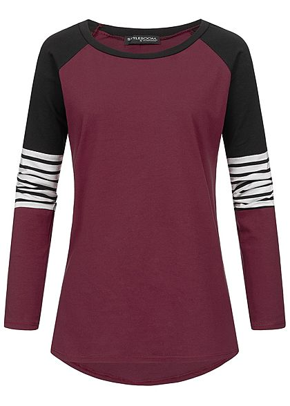 Styleboom Fashion Damen Colorblock Stripe Longsleeve bordeaux rot schwarz