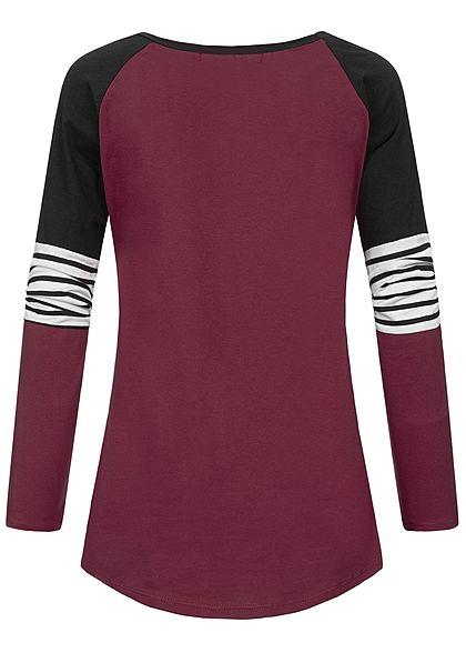 Styleboom Fashion Damen Colorblock Stripe Longsleeve bordeaux rot schwarz