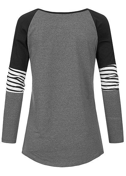 Styleboom Fashion Damen Colorblock Stripe Longsleeve dunkel grau schwarz