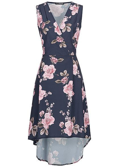Styleboom Fashion Damen Long Wrap Flower Print Dress navy blau rosa