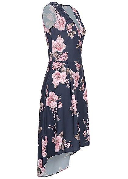 Styleboom Fashion Damen Long Wrap Flower Print Dress navy blau rosa