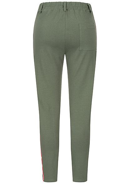 Styleboom Fashion Damen Contrasting Stripes Pants 2-Pockets military grün
