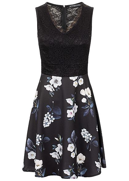Styleboom Fashion Damen Lace V-Neck Flower Dress schwarz weiss blau