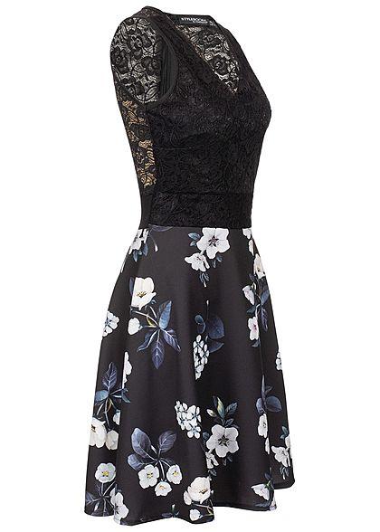 Styleboom Fashion Damen Lace V-Neck Flower Dress schwarz weiss blau