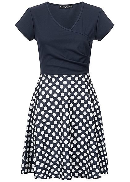 Styleboom Fashion Damen 2-Tone Wrap Dots Dress navy blau weiss