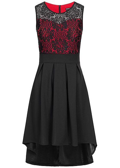 Styleboom Fashion Damen 2-Layer Lace Dress schwarz rot