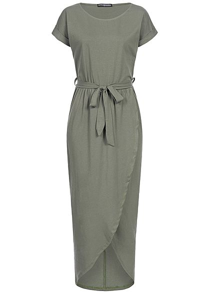 Styleboom Fashion Damen Long Wrap Belt Dress military grün