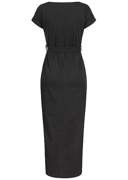 Styleboom Fashion Damen Long Wrap Belt Dress schwarz