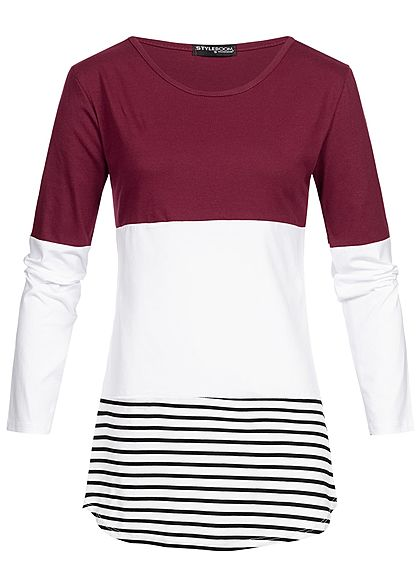 Styleboom Fashion Damen Striped Colorblock Longsleeve bordeaux rot weiss schwarz