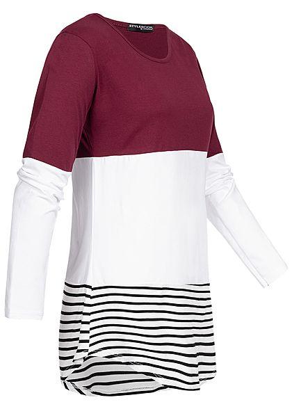 Styleboom Fashion Damen Striped Colorblock Longsleeve bordeaux rot weiss schwarz