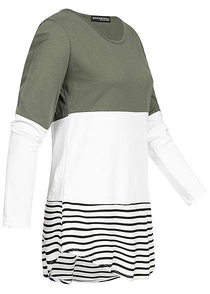 Styleboom Fashion Damen Striped Colorblock Longsleeve military grün weiss schwarz