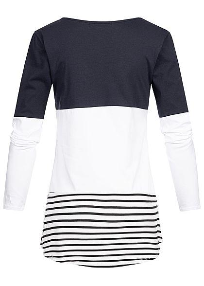 Styleboom Fashion Damen Striped Colorblock Longsleeve navy blau weiss schwarz