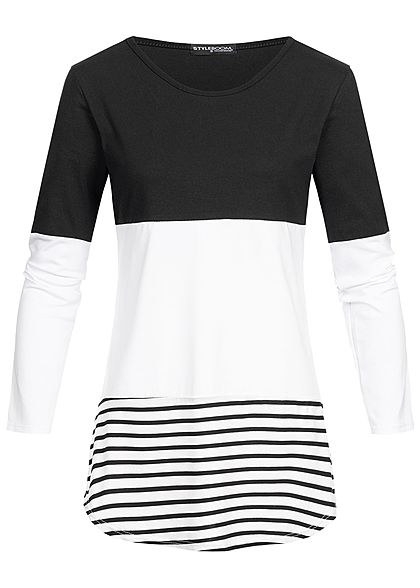 Styleboom Fashion Damen Striped Colorblock Longsleeve schwarz weiss schwarz