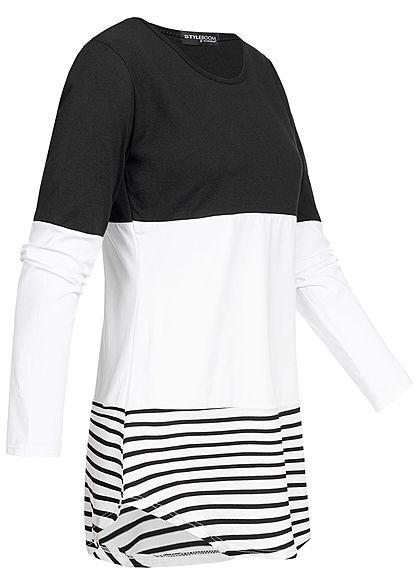 Styleboom Fashion Damen Striped Colorblock Longsleeve schwarz weiss schwarz