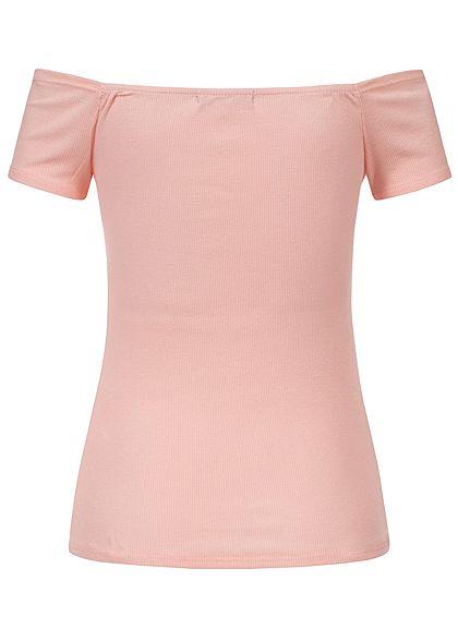 Styleboom Fashion Damen Off-Shoulder Ripped Bow Top rosa