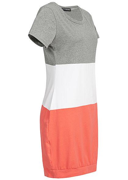 Styleboom Fashion Damen Colorblock Dress grau weiss coral